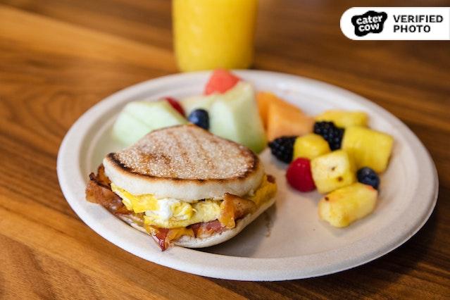 Breakfast Sandwiches, Fruit & Drinks